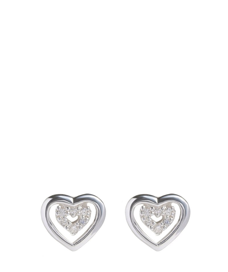 'Aatami' Sterling Silver & Cubic Zirconia Heart Stud Earrings image 1