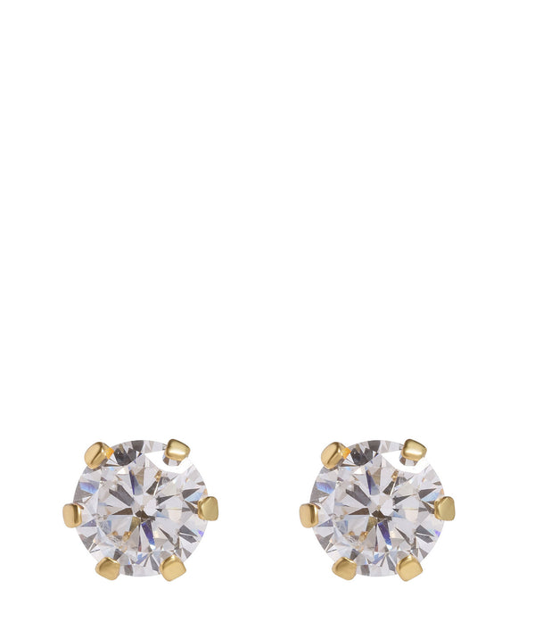 'Richa' Round Gold Plated Silver Ear Studs with Cubic Zirconia image 1