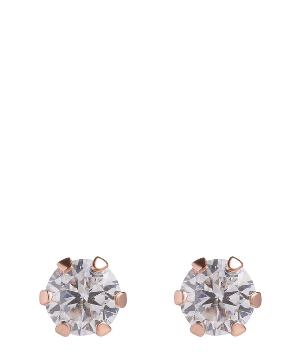 'Dipa' Round Rose Gold Plated Silver Ear Studs with Cubic Zirconia image 1