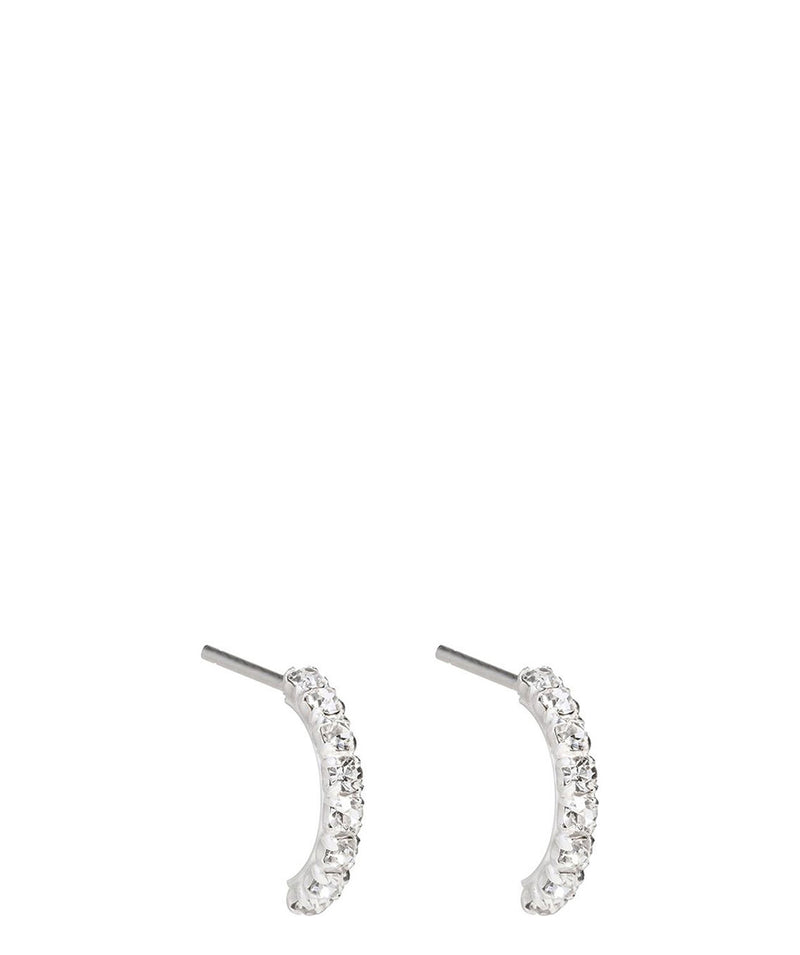'Phitsamai' Sterling Silver & Cubic Zirconia Curved Earrings