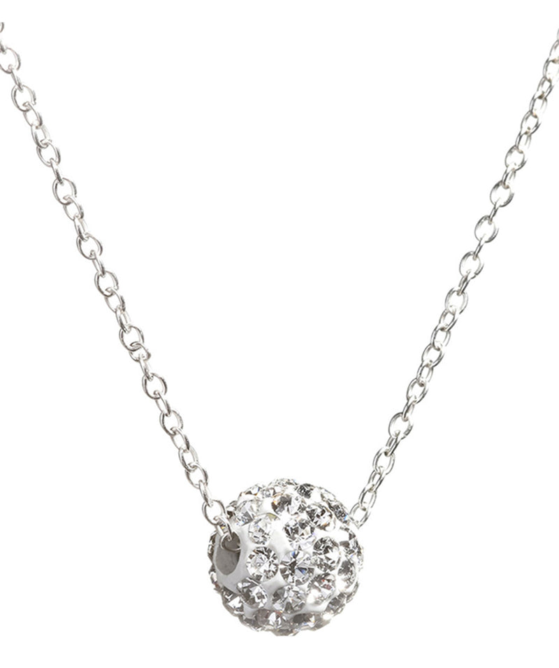 Gift Packaged 'Prija' Sterling Silver Sparkling Orb Necklace