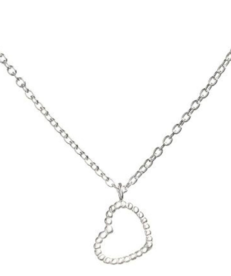 'Boonsri' Sterling Silver Beaded Heart Necklace