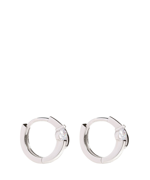 'Etenia' Sterling Silver & Cubic Zirconia Hoop Earrings image 1