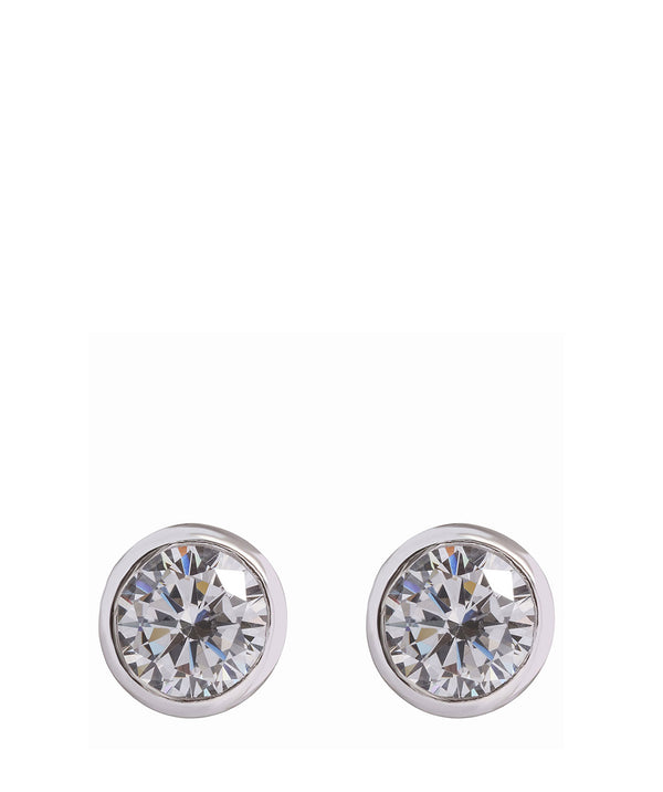'Pakuna' Sterling Silver & Cubic Zirconia Round Earrings image 1