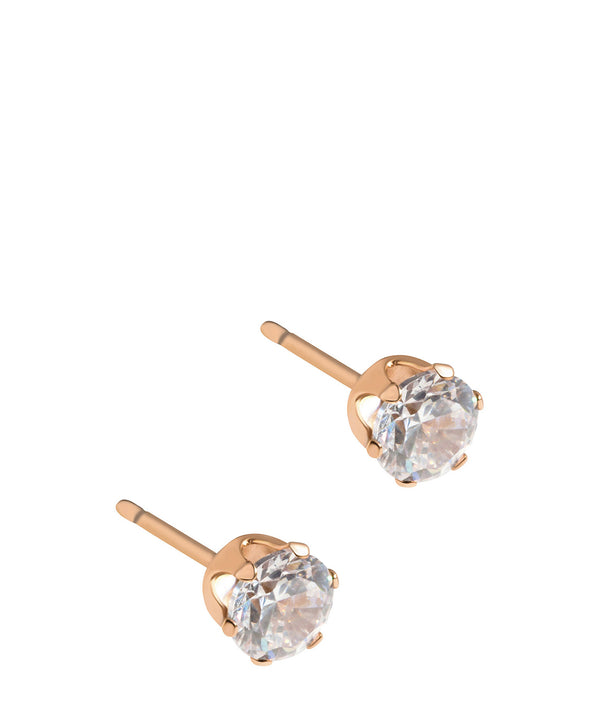 'Eclipse' Rose Gold Plated Sterling Silver Stud with Cubic Zirconia Earrings