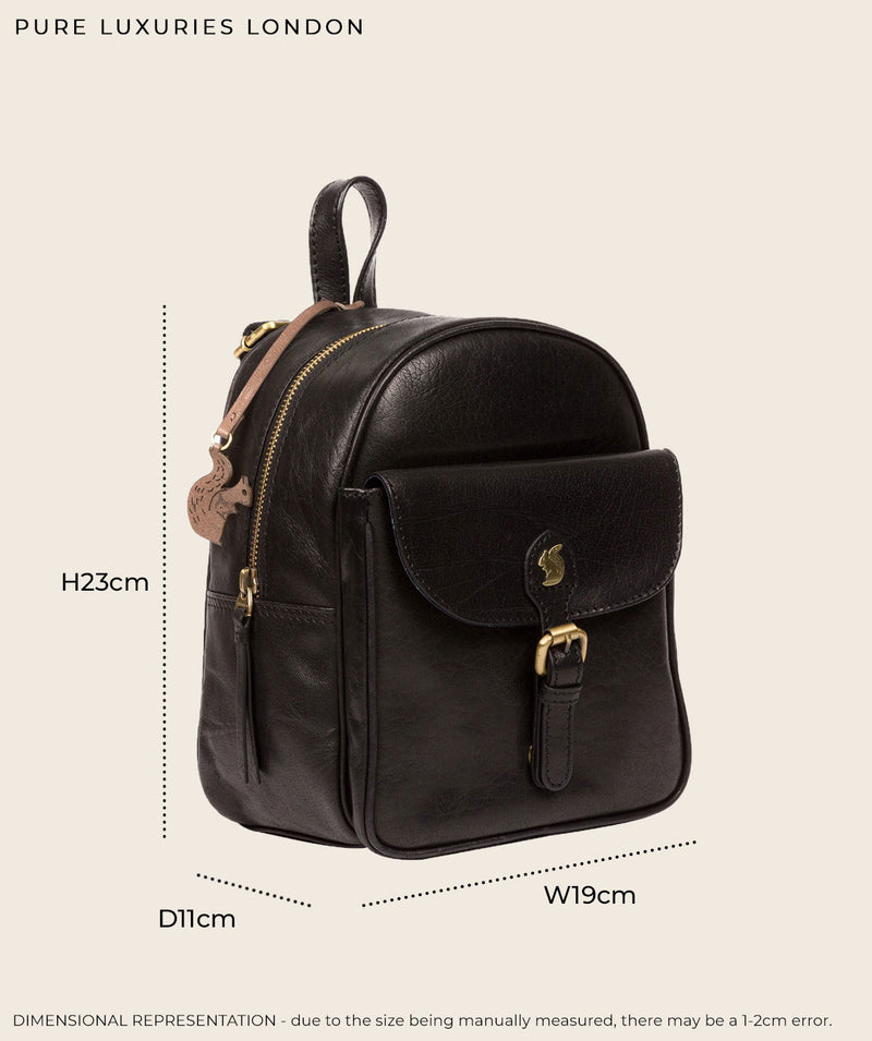 'Eloise' Black Leather Backpack
