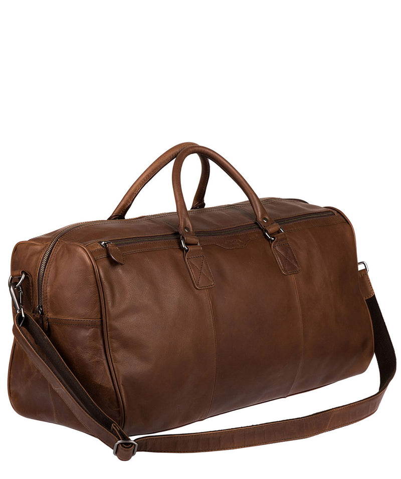 'Norton' Dark Brown Natural Cowhide Holdall
