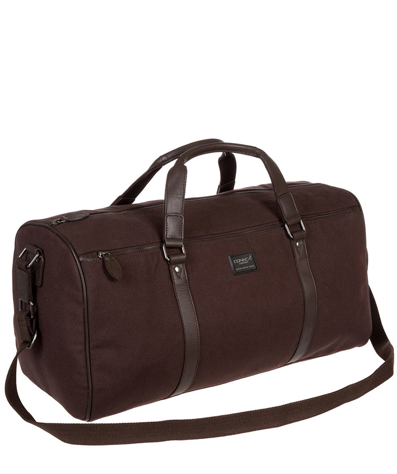 'Dempsey' 16oz Heavy-Duty Brown Canvas & Leather Holdall image 3