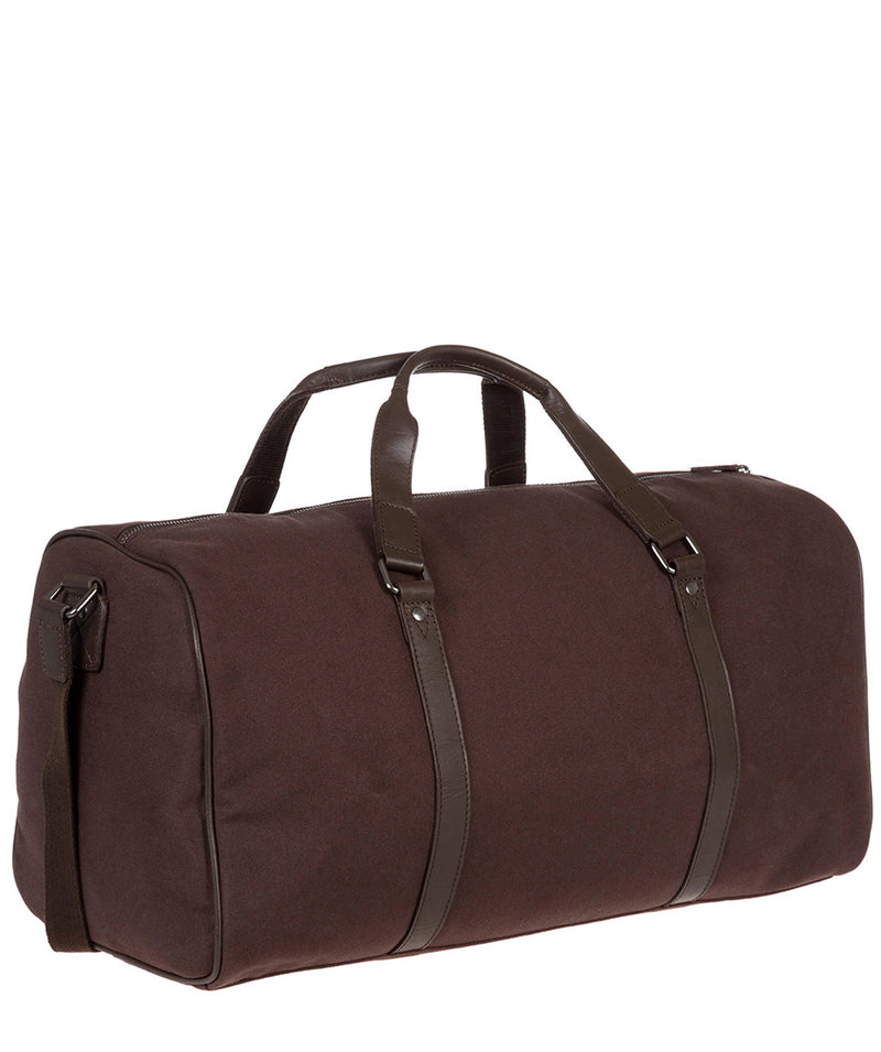 'Dempsey' 16oz Heavy-Duty Brown Canvas & Leather Holdall image 5