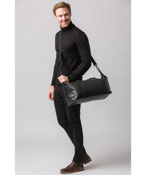 'Excursion' Black Leather Holdall