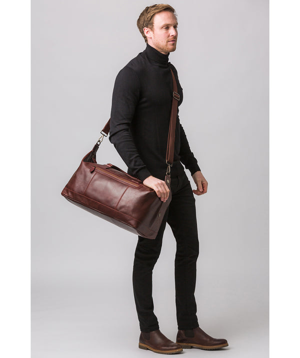 'Shuttle' Dark Chestnut Leather Holdall