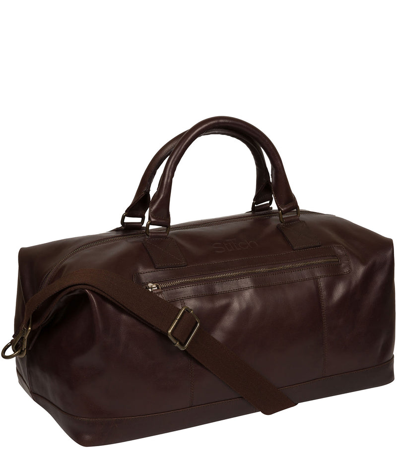 'Shuttle' Espresso Leather Holdall image 5