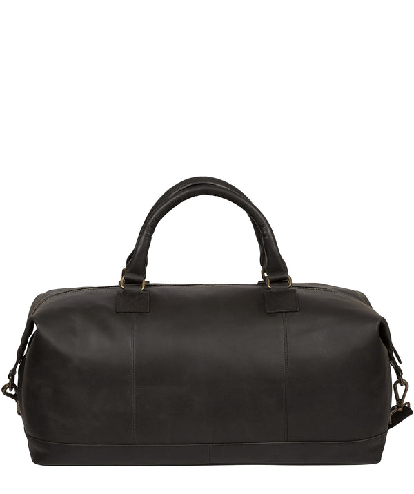 'Shuttle' Matte Black Leather Holdall image 3