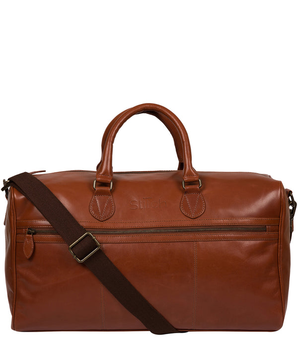 'Aviator' Conker Brown Leather Holdall image 1