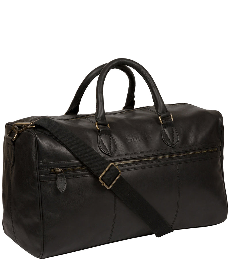 'Aviator' Jet Black Leather Holdall image 5