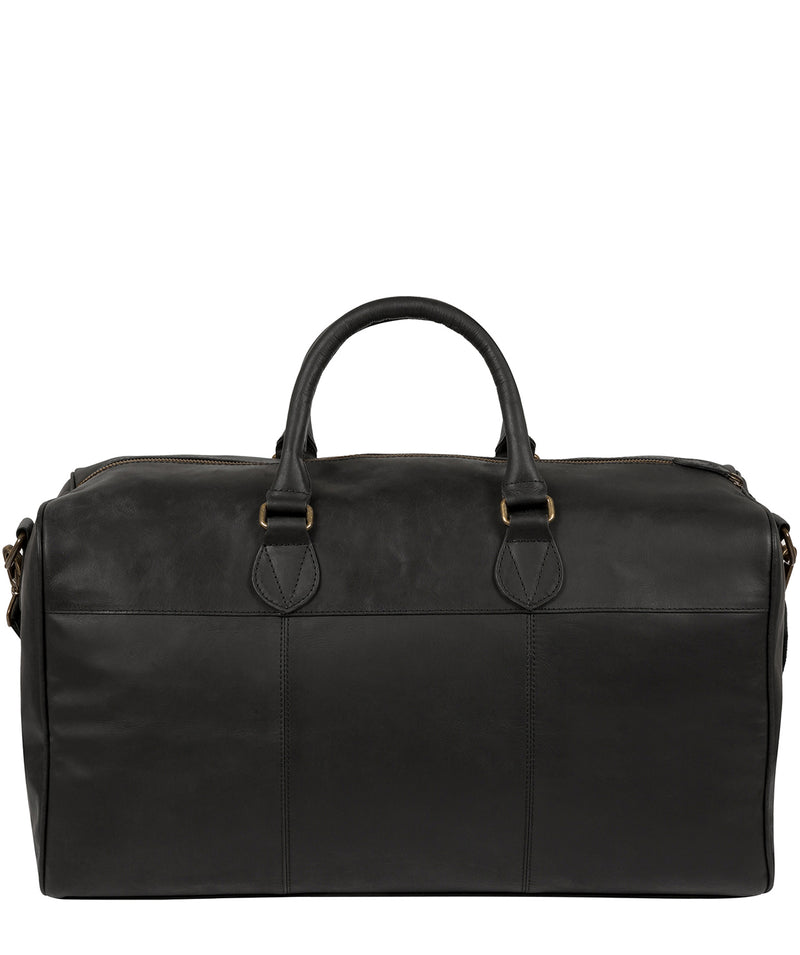 'Aviator' Matte Black Leather Holdall image 3