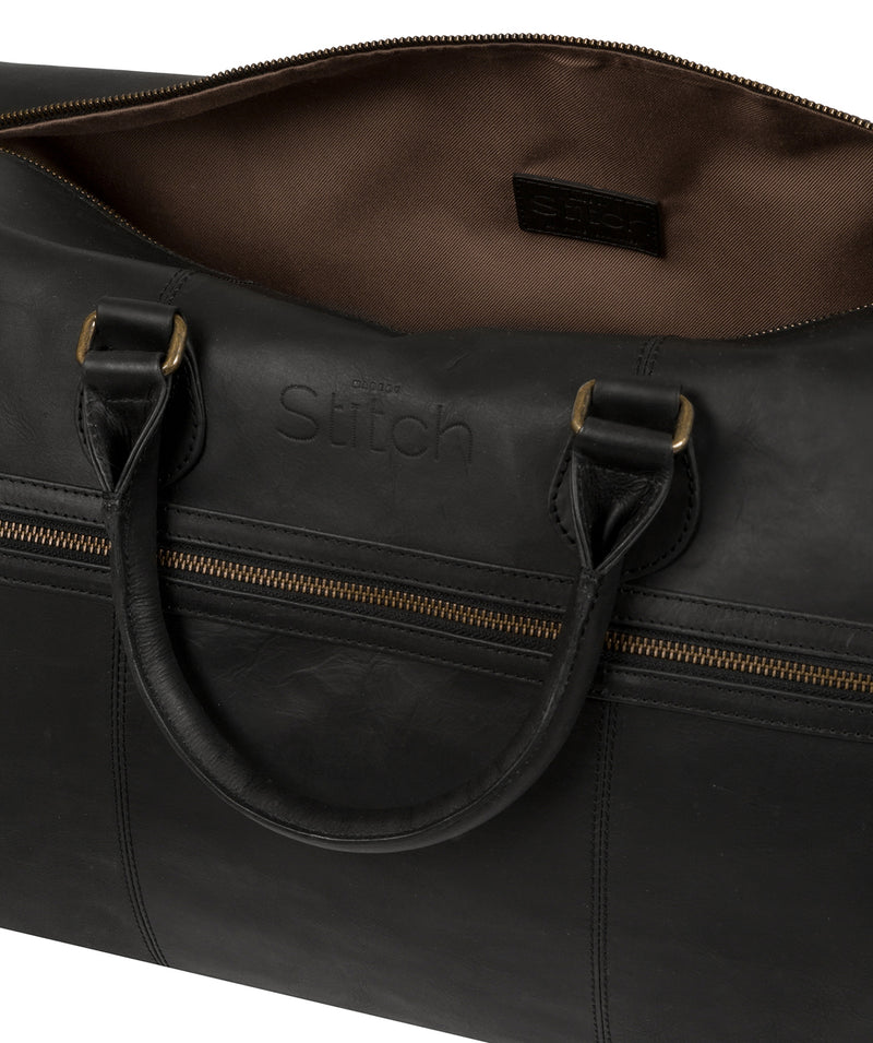 'Aviator' Matte Black Leather Holdall image 4