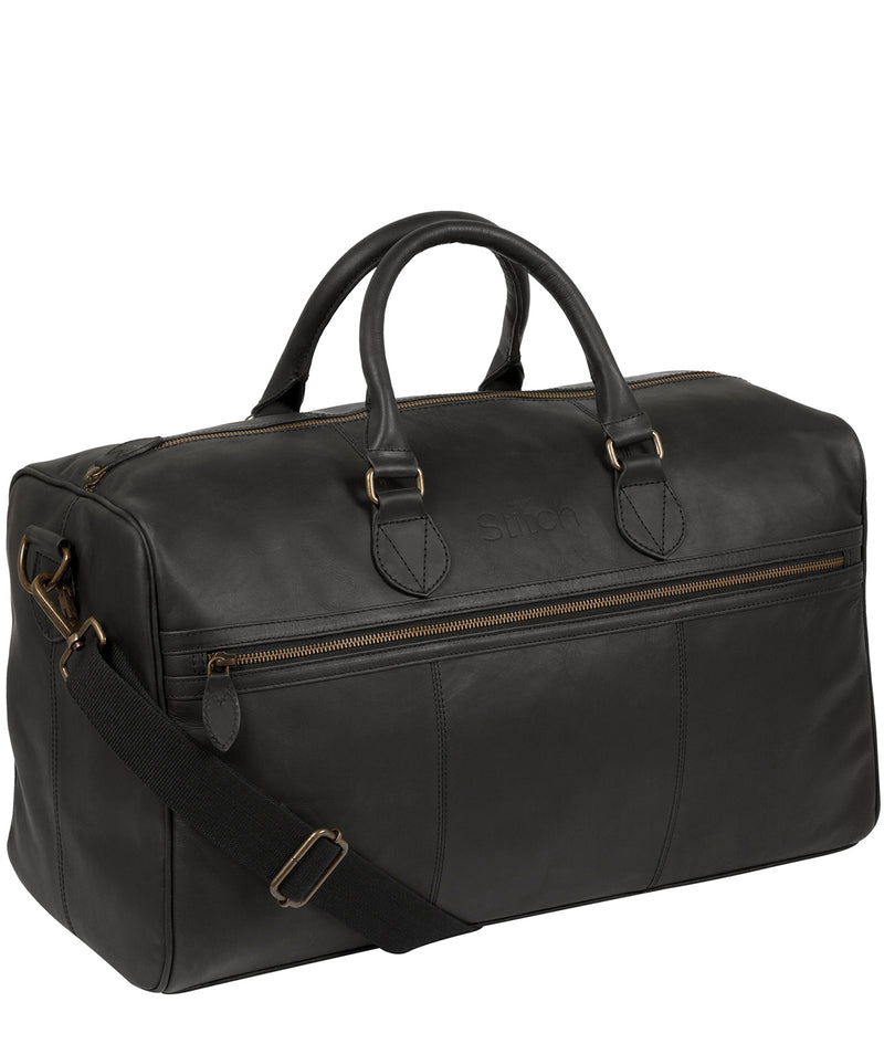 'Aviator' Matte Black Leather Holdall image 5