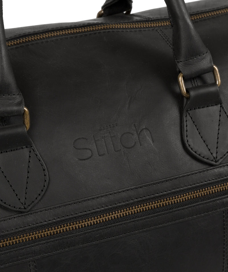 'Aviator' Matte Black Leather Holdall image 6