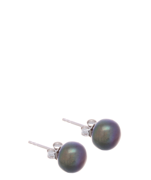 Gift Packaged 'Maria' 9-9.5mm Peacock Colour Freshwater Button Pearl Stud Earrings