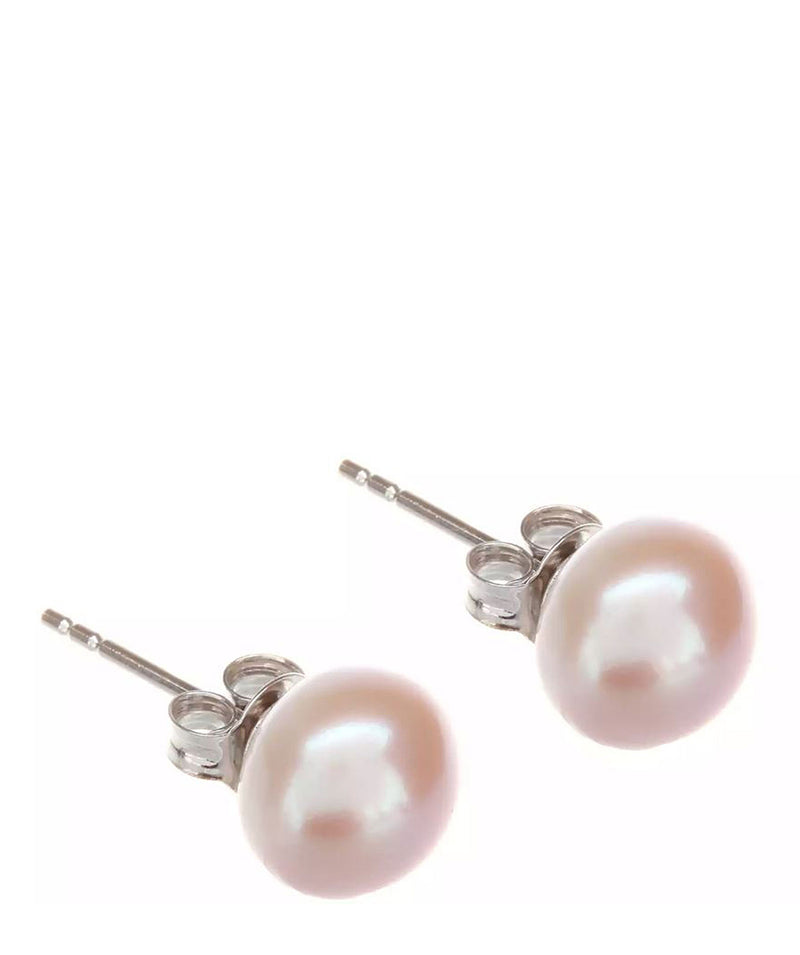 'Ivy' 9-9.5mm Pink Freshwater Button Pearl Stud Earrings