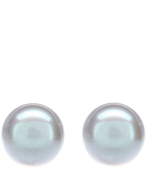 Gift Packaged 'Serena' 9-9.5mm Silver Pearl Earrings