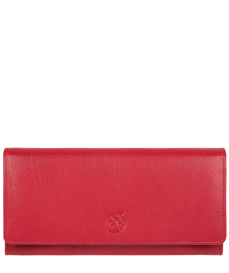 'Fey' Red Handcrafted Leather 16-Card RFID Purse