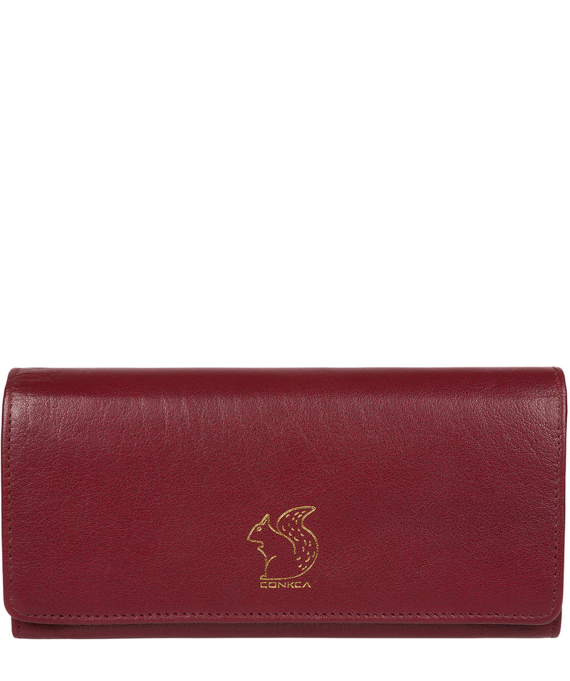 'Arabella' Deep Red Tri-Fold Leather Purse image 1