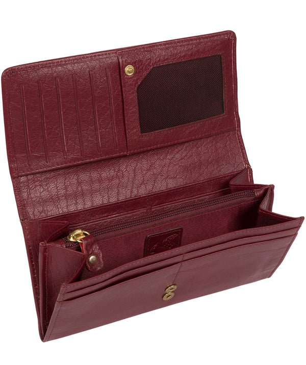 'Arabella' Deep Red Tri-Fold Leather Purse image 3