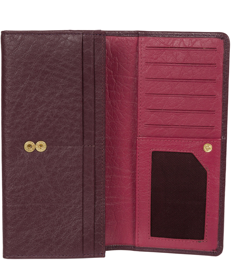 'Arabella' Plum Tri-Fold Leather Purse image 3
