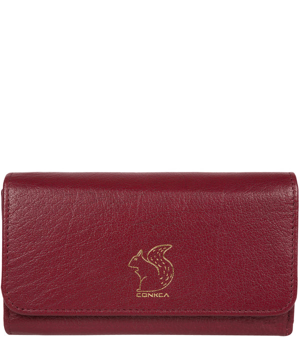 'Colleen' Deep Red Tri-Fold Leather Purse image 1