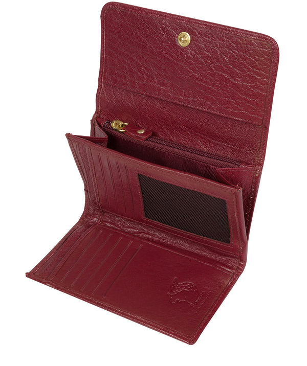 'Colleen' Deep Red Tri-Fold Leather Purse image 3