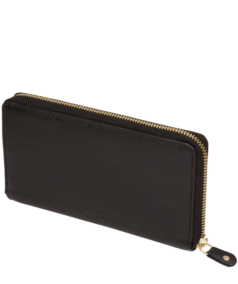 'Aisling' Black Zip Round Leather Purse Pure Luxuries London