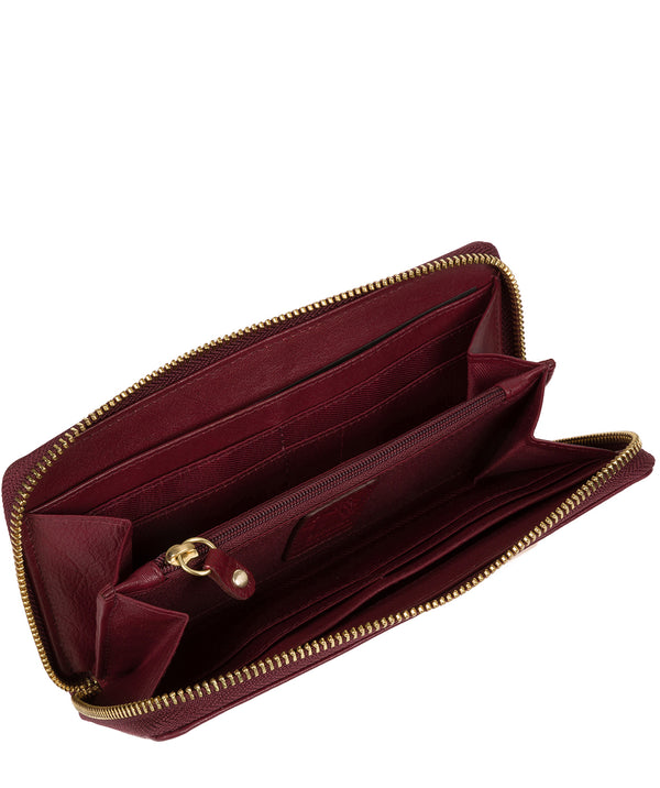 'Aisling' Deep Red Zip Round Leather Purse image 3