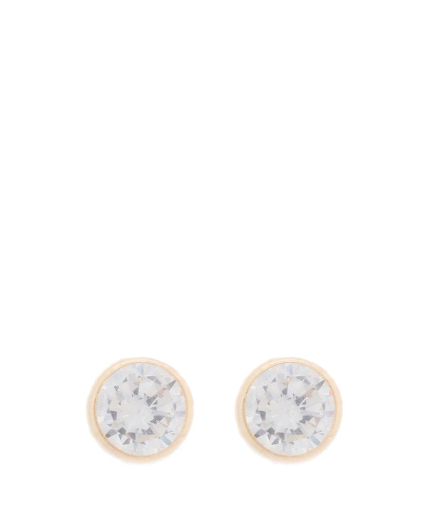 'Elvira' 4mm 9ct yellow gold and cubic zirconia stud earrings	 image 1