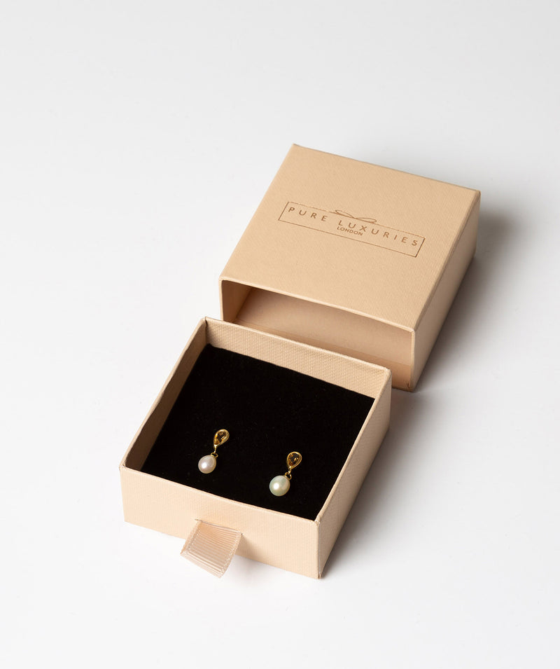 'Alize' 9-carat yellow gold, citrine & pearl earrings	 image 3