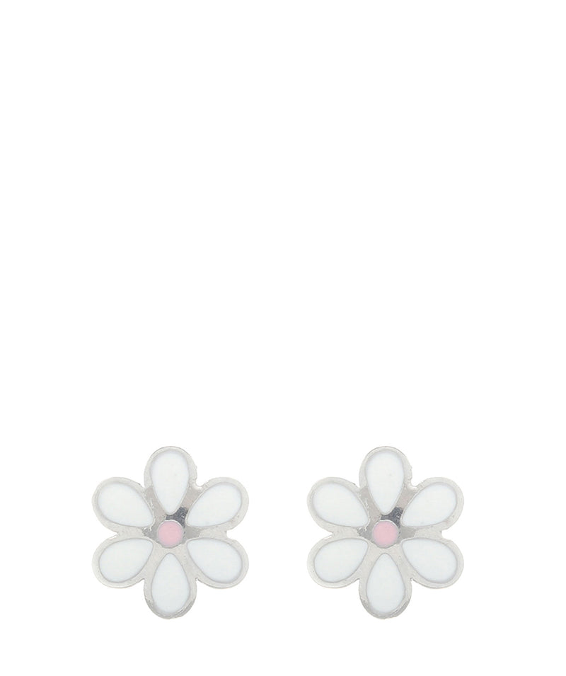 'Elspeth' 9ct White Gold Small Daisy Stud Earrings image 1