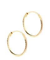 'Dax' 18ct Yellow Gold Diamond Cut Sleeper Hoop Earrings image 1
