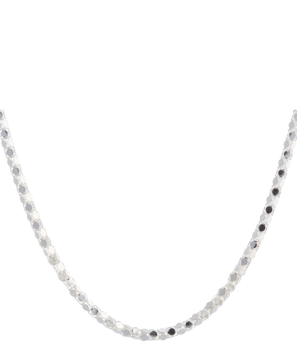 'Lillian' Sterling Silver Round Mirror Chain Necklace