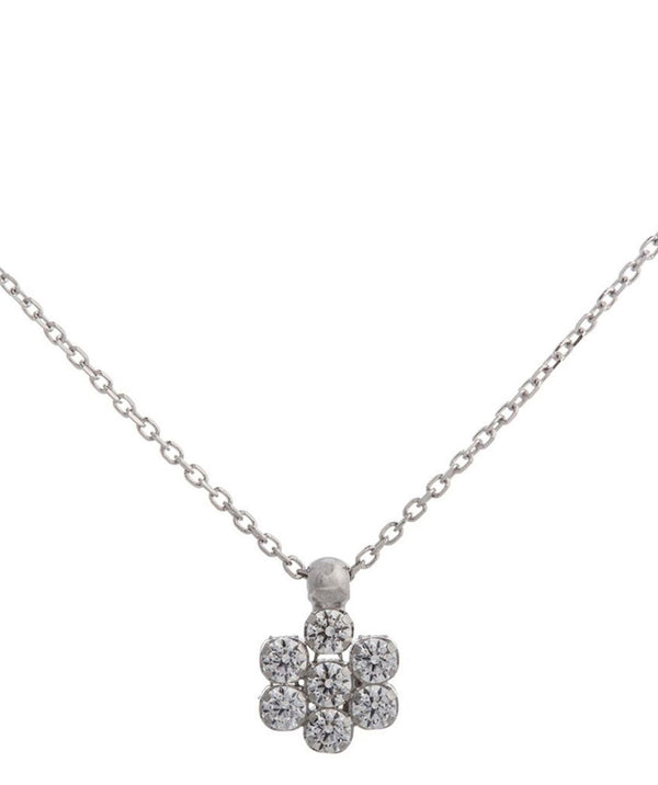 'Lori' Rhodium Plated & Cubic Zirconia Flower Necklace