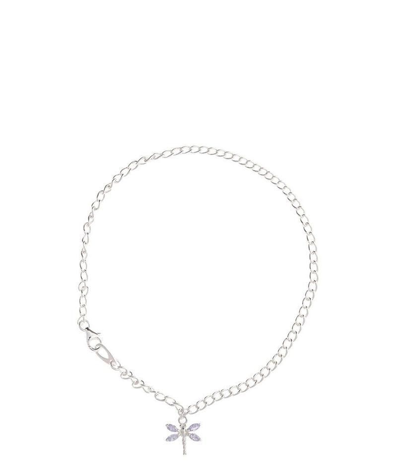 Gift Packaged 'Morgana' Sterling Silver Dragonfly Charm Anklet