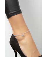 'Morgana' Sterling Silver Dragonfly Charm Anklet Pure Luxuries London