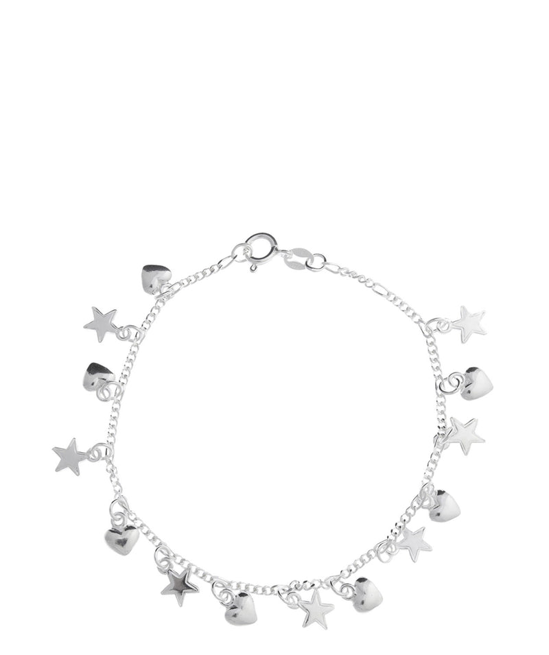 'Peggy' Sterling Silver Star & Heart Bracelet