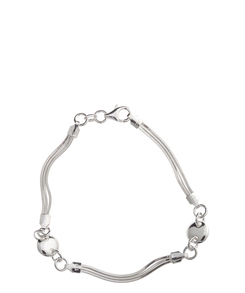 Gift Packaged 'Poppy' Sterling Silver Three-Row Bracelet