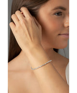 'Portia' Sterling Silver Square Bead Bracelet Pure Luxuries London