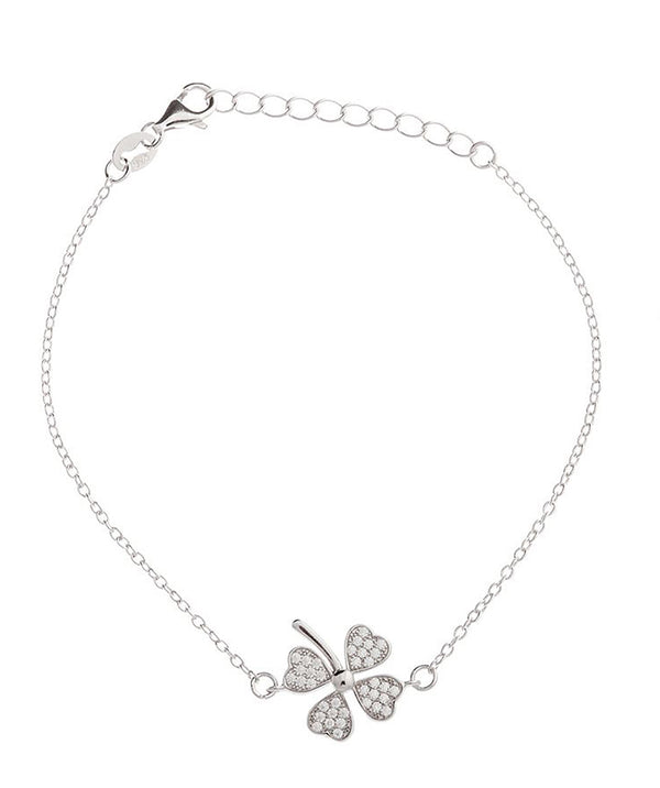 Gift Packaged 'Falisha' Lucky Four Leaf Clover Rhodium Bracelet
