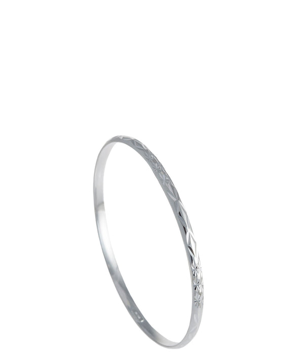 Gift Packaged 'Regan' Diamond-Cut Sterling Silver Bangle