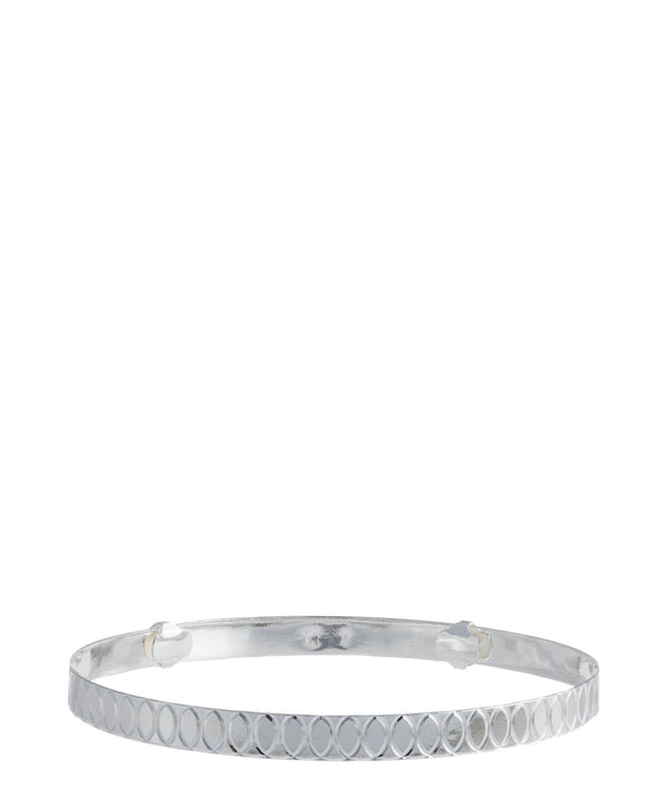 'Ria' Oval Engraved Sterling Silver Bangle