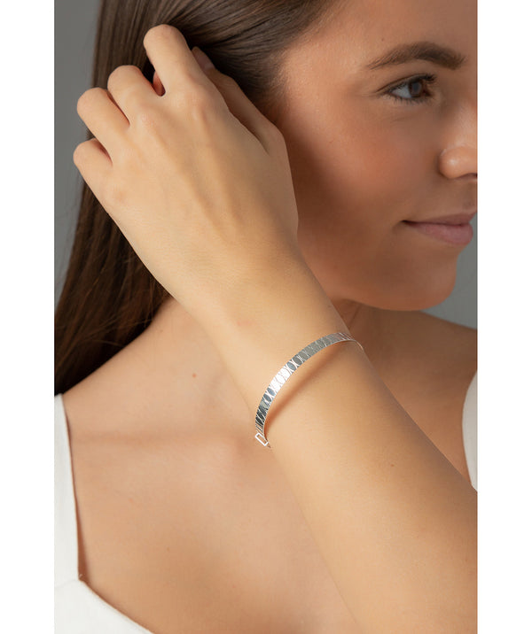 'Ria' Oval Engraved Sterling Silver Bangle image 2
