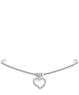 'Roxanne' Sterling Silver & Cubic Zirconia Heart Charm Bangle